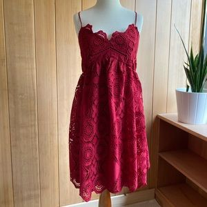 Red Size 12 Maeve Lace Cocktail Dress